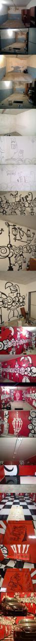 Дизайн гараж с рисунками на стенах и глянцевой плиткой на полу